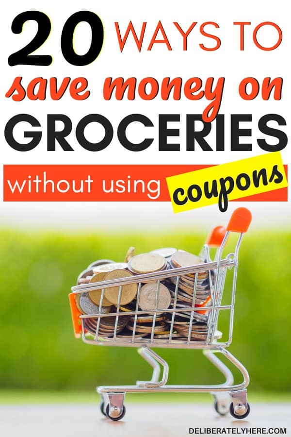 How to save money on groceries without coupons. Cut your food bill and save money on groceries with frugal living tips to help you save money fast. Create a budget to save money every month. Simple and easy ways to save money on groceries this month - keep food bills down with these smart money saving tricks. Save money on food this month and stay in your budget.