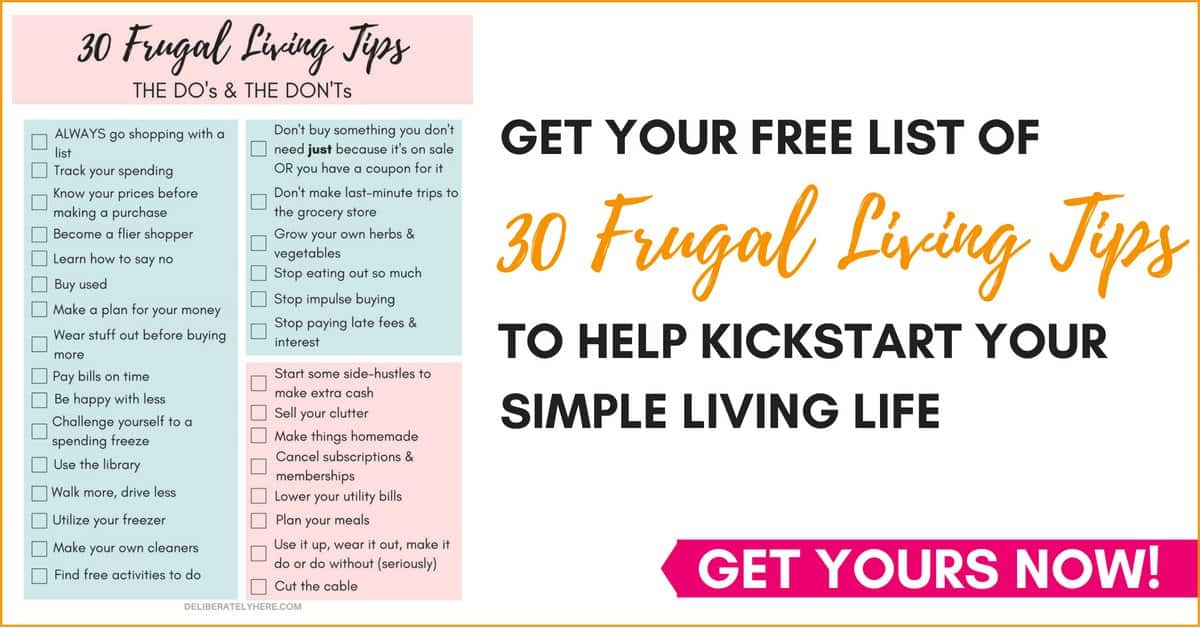 Grab a free list of frugal living tips and tricks to start you on your frugal living money saving journey today
