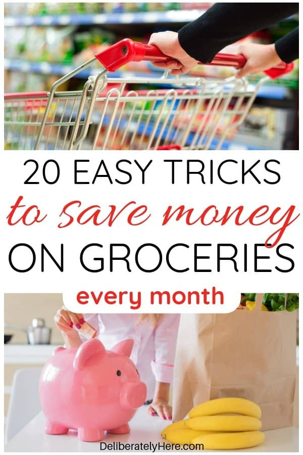 20 ways to save money on groceries every month. How to save money on groceries without coupons. Cut your food bill and save money on groceries with frugal living tips to help you save money fast. Create a budget to save money every month. Simple and easy ways to save money on groceries this month - keep food bills down with these smart money saving tricks. Save money on food this month and stay in your budget.