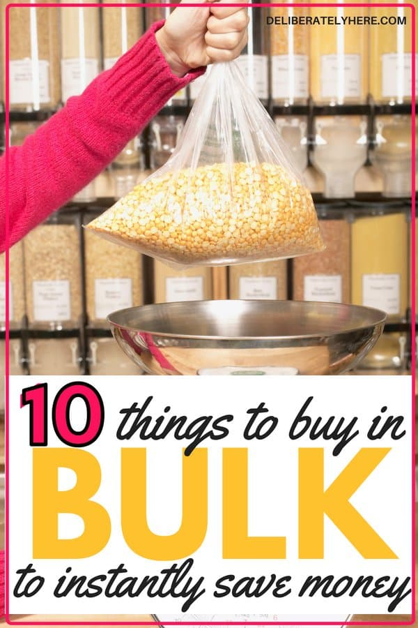 10 things to buy in bulk to save money. Save money by buying these things in bulk! Save money on groceries by making your food go further. Lower your food budget this month with this neat trick! WOW! I knew I should be buying some things in bulk, but I've never seen the numbers in front of my eyes like this!