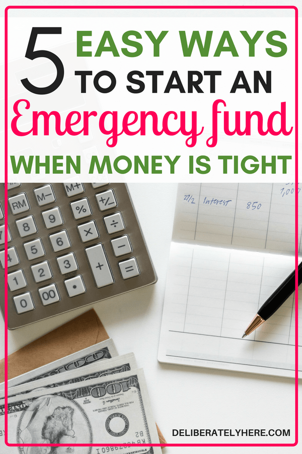 5 easy ways to start an emergency fund when money is tight. Wow! Who knew starting an emergency fund was so easy?!