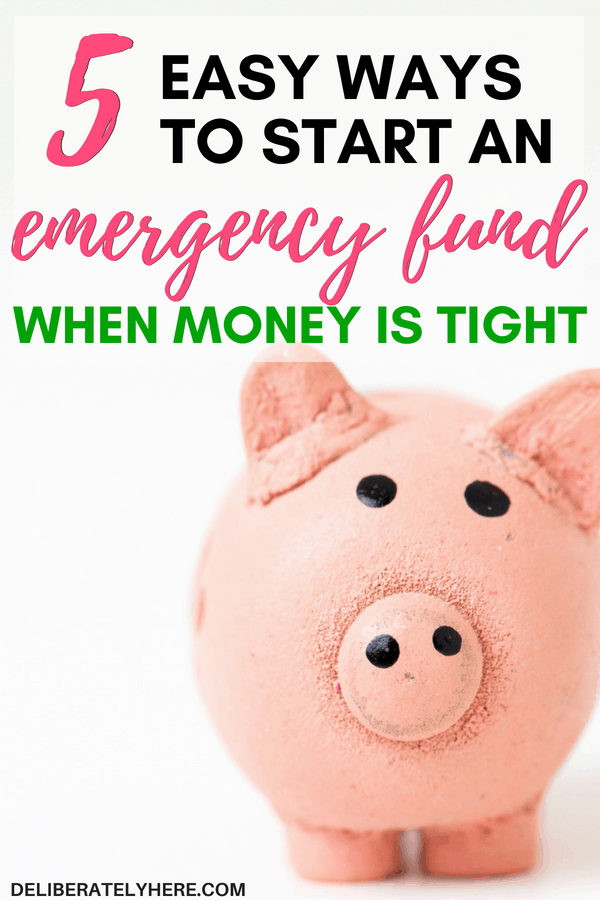 5 easy ways to start an emergency fund when money is tight. Even if you're low on money you can save money to start an emergency fund. Easily save money this month to be prepared for emergencies. Be financially stable when emergencies arise by starting to prepare today