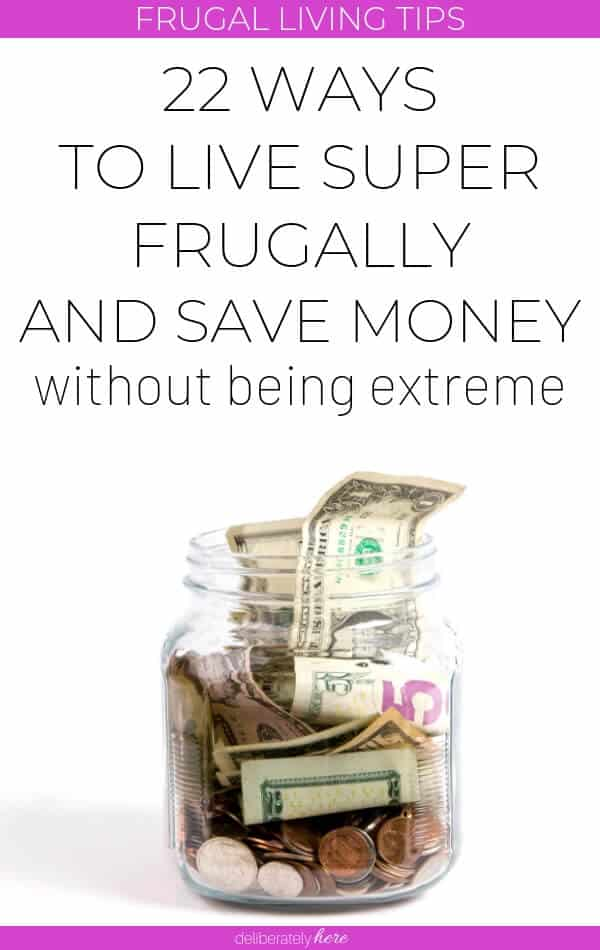 frugal living hacks with money in glass jar