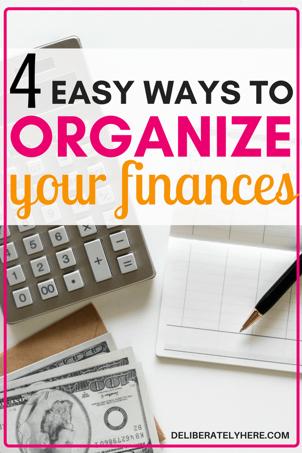 4 easy ways to get your finances organized starting today - don't let your unorganized finances drive you into debt anymore. Organize your finances and start thriving with what you have! WOW! I was always afraid to sort through my expenses and get organized but it doesn't have to be as hard as people make it out to be! Organizing your finances can be easy!