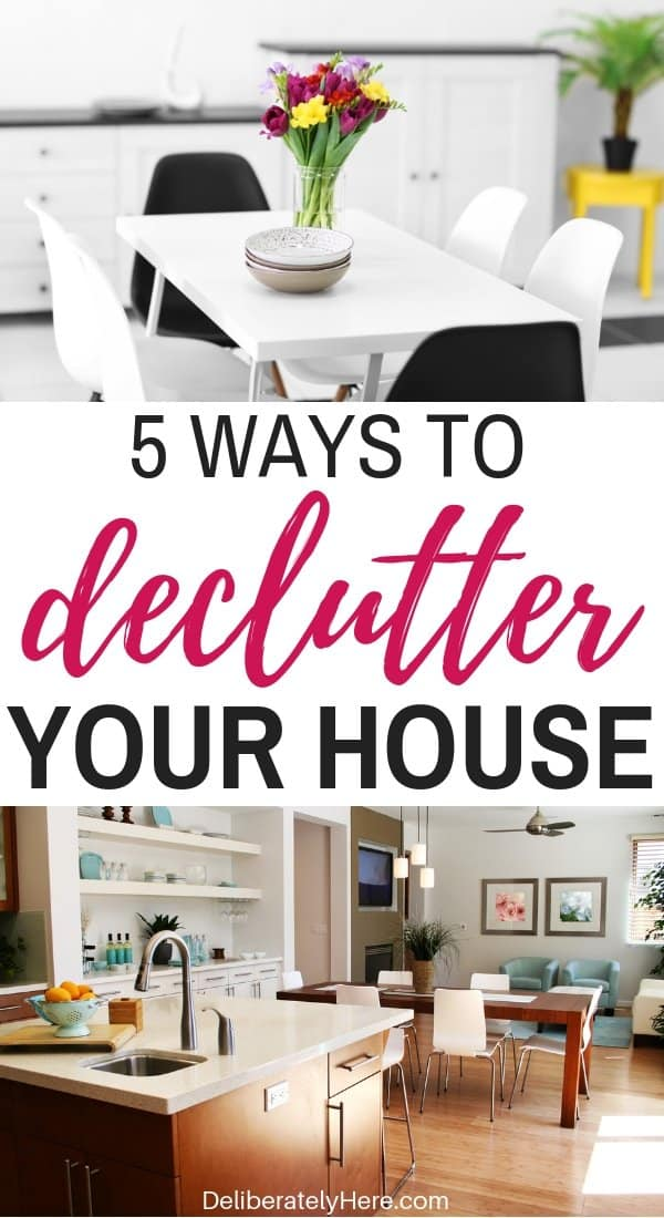 How to declutter your house in one week. Easily declutter your house in one week by following these five steps. Declutter your life. Become stress and clutter free! I never knew that decluttering could be so easy! This awesome article walks you through the exact steps you need to take to declutter your house and life today! Declutter tips.