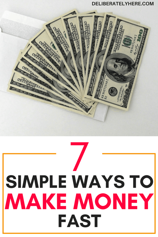 7 easy ways to make money fast without wasting your time. This is PERFECT! This list came in very handy right when I was in a pinch and running low on money it provided ways for me to make quick money without much work or effort