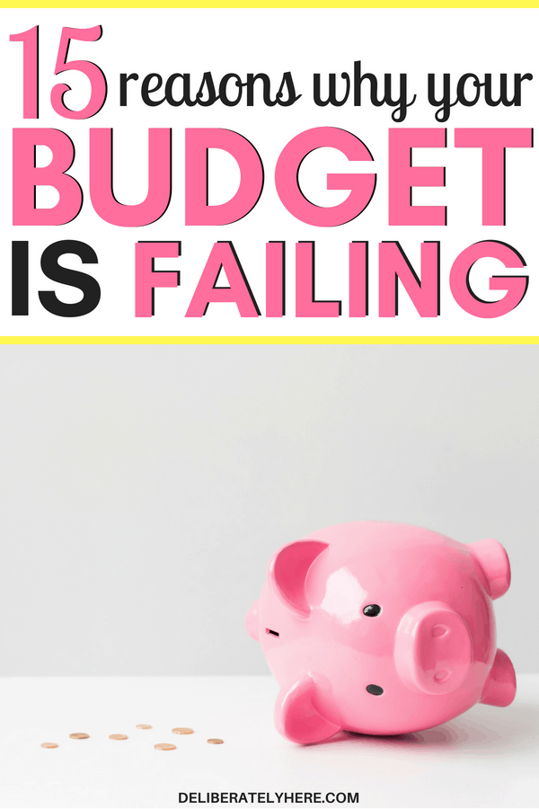 15 reasons why your budget is failing and what you can do about it. Stay on budget by quitting these things. Daily habits that are making your budget fail - stay under budget by cutting these costs from your life. I always wondered why I could never stick to a budget! But, WOW! Can I just say how amazing this post is?! I now know why my budgets never work and why I always go over budget - thanks to Deliberately Here I now know the exact steps to take to get out of a budget disaster and create a budget that will work for me!