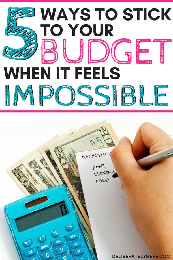 5 easy ways to stick to your budget when it feels impossible. Stay under budget with these 5 budget tips. Save money every month with these budgeting tips and tricks that will ensure you stay under budget and have extra money to spare at the end of the money. Focus on your finances and save money.