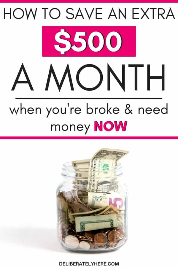 8 Ways to save an extra $500 a month when you're broke and need money NOW. Save money when you're broke. How to find money to save when there's nothing left - budgeting when there's no money. Create a nest egg even when money is tight with these smart and easy money saving tips that anyone can do!