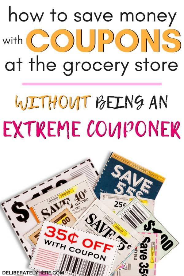 How to save money with coupons at the grocery store without being an extreme couponer. How to save money with coupons for beginners. Learn how to use coupons to save money every month. Save money on food with these couponing tips.