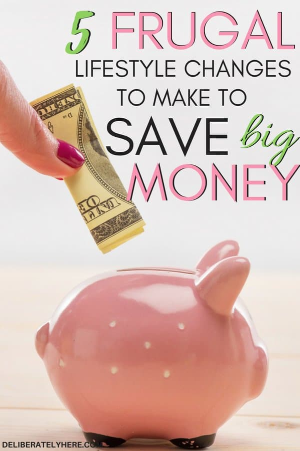 5 frugal lifestyle changes to make to save money. Save money every month with these frugal habits. Live frugally & save money. 5 best frugal habits to help you save money and stay on budget every month. Easily lower your budget with these tips. Lower your monthly spending & save more money every month.