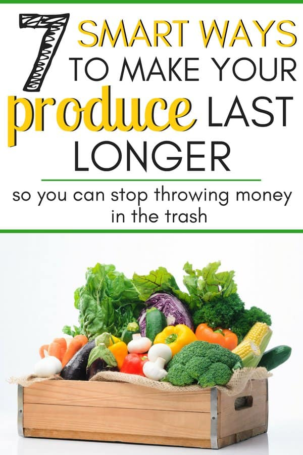 How to make your produce last longer so you can stop throwing your money in the trash. 7 easy ways to keep your produce good longer. I needed these tips so much! I always hated going shopping only to have the fruits and veggies that I bought go bad within a couple days! I love this smart money saving tip!