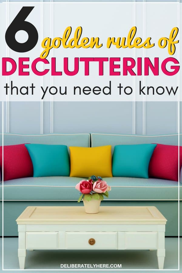 6 best home decluttering tips to help you declutter and organize your house fast. Golden rules of decluttering to create a place of organized clutter. Organize and clean your house, kick the clutter with these simple decluttering tips and decluttering hacks. Easily declutter your house. How to easily declutter today for the busy mom.