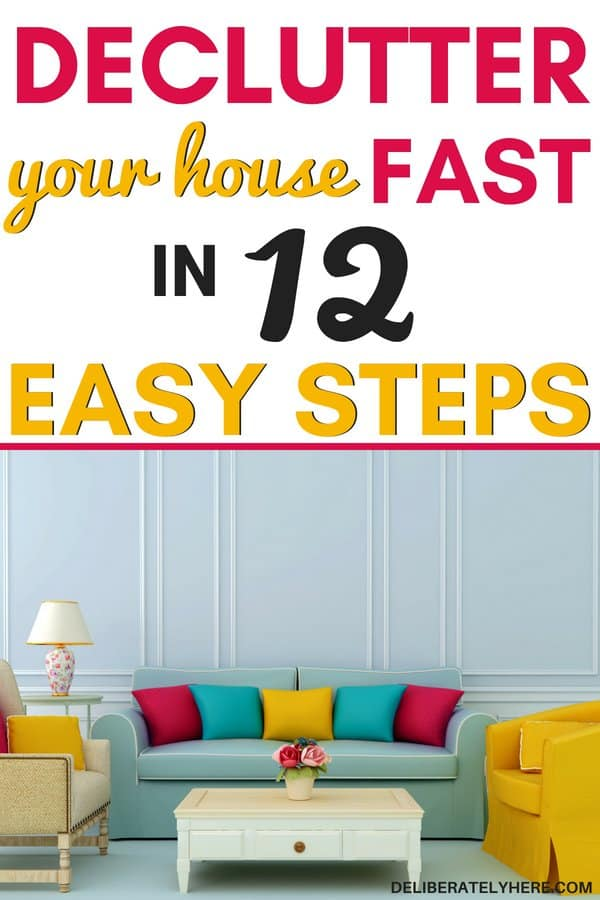 Declutter your house fast in 12 easy steps. Declutter and organize your home to create clean and organized small spaces. Decluttering hacks to help you kick the clutter. Clutter organization tips to help you create the home of your dreams. Declutter your house fast with these declutter ideas. Clutter solutions to help you be happy with less.