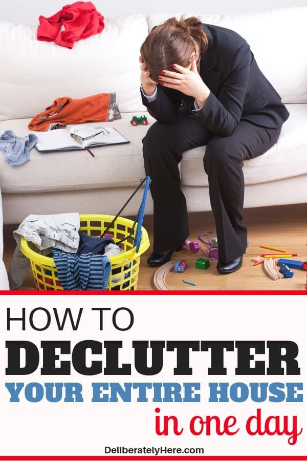 How to declutter your house in one day when the mess is overwhelming. How to declutter your house fast with these simple decluttering tips. Declutter and organize your house in one day to eliminate the clutter stress.