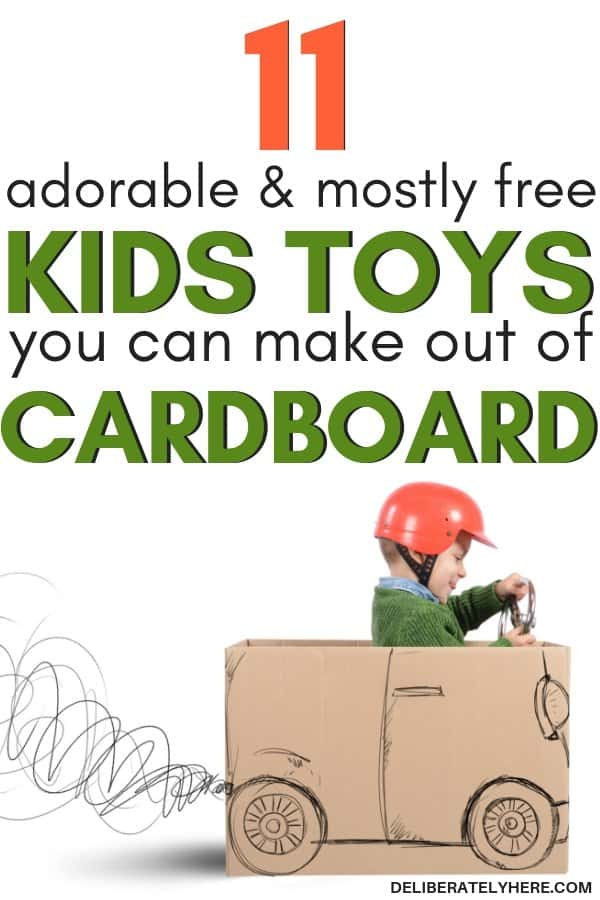 11 adorable and mostly free kids toys you can make out of cardboard for cheap or free. DIY kids toys DIY kids crafts. Easy cardboard crafts for the creative mind. Homemade toys for kids out of cardboard.