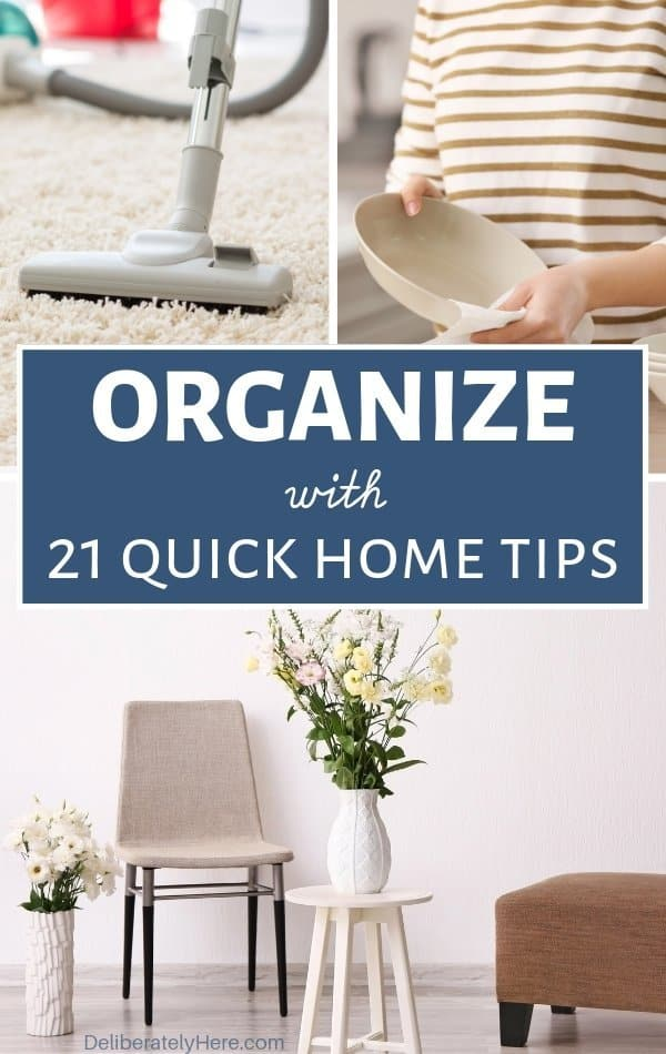 21 home organization ideas for a quickly organized home. DIY home organization hacks for the messy home. Declutter and organize your home with these easy organizing tips. How to be organized when you're naturally messy. Cheap home organization ideas on a budget.