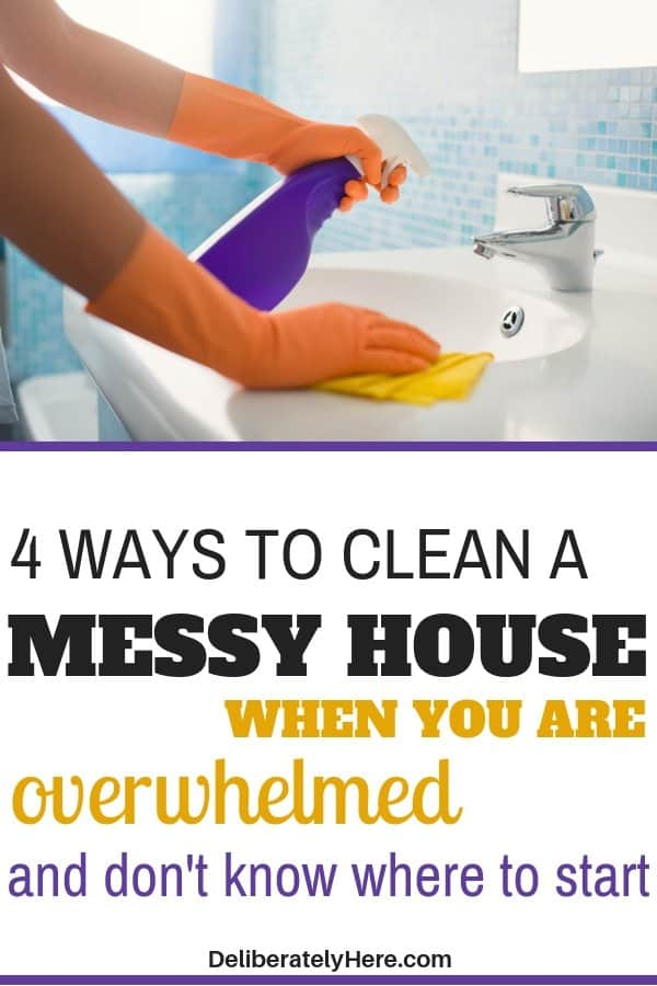 How to clean a messy house when you are overwhelmed and don't know where to start. How to clean a messy house fast - in one day! Take these easy cleaning hacks, tips, and tricks and apply them to your life today. Home cleaning hacks and tips to help you create a clean and organized home. Get rid of clutter today. Create a clean and organized house today with these easy home cleaning tips.