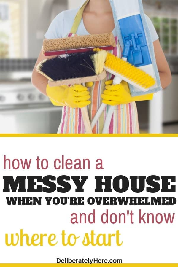 4 easy ways how to clean a messy house when you're overwhelmed by the mess. How to clean a messy house fast - in one day! Take these easy cleaning hacks, tips, and tricks and apply them to your life today. Home cleaning hacks and tips to help you create a clean and organized home. Get rid of clutter today. Create a clean and organized house today with these easy home cleaning tips.