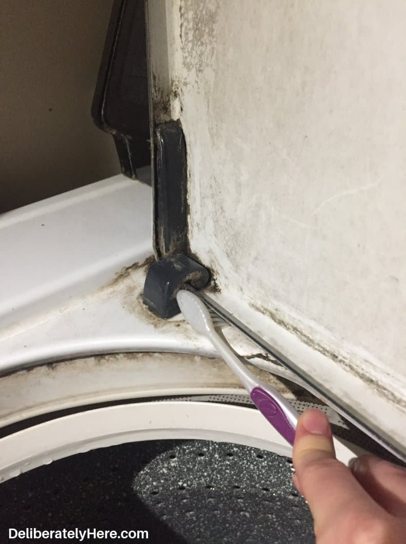How to clean a top loading washing machine. Scrub with an old toothbrush.