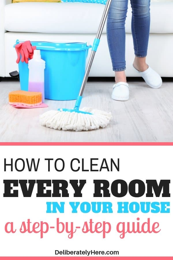 4 steps to clean every room in your house. Learn how to clean every room in your house here. Clean your house fast. How to deep clean your house. Clean your house for guests. Clean your house room by room. How to clean your entire house in one day. Home cleaning printable checklist. Deep cleaning printable checklist.