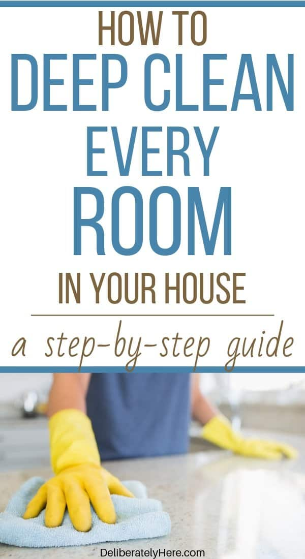 How to clean every room of your house a step-by-step guide. How to clean your home when you feel trapped by the mess. How to deep clean your house. Clean your house fast in one day. Life hacks to clean your house like a pro. Top to bottom house cleaning schedule for the busy mom. Free printable house cleaning checklist.