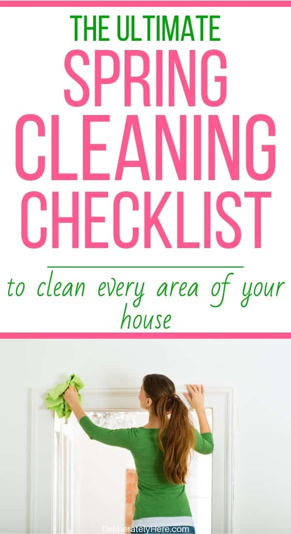 Spring cleaning checklist to clean every room of your house. Printable spring cleaning schedule to make spring cleaning easy. Spring cleaning hacks and tips to clean and organize your house fast. Easy home cleaning tips for the busy mom. Printable spring cleaning checklist for the entire house. Spring cleaning tips and tricks for the overwhelmed mom. How to spring clean your house fast.