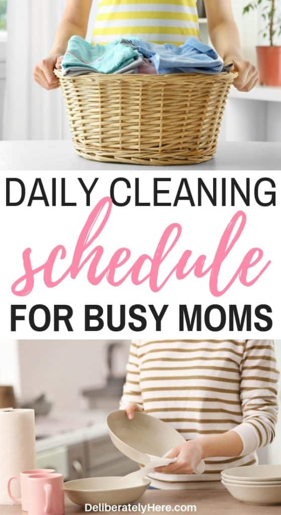 Daily cleaning schedule for busy moms to help you keep a tidy home. Daily cleaning routine. Daily cleaning checklist for a clean and organized home. Small, easy daily cleaning tasks for busy people. Easy cleaning tips for people who don't have time to clean. Daily cleaning routine for working moms. Printable daily cleaning checklist.