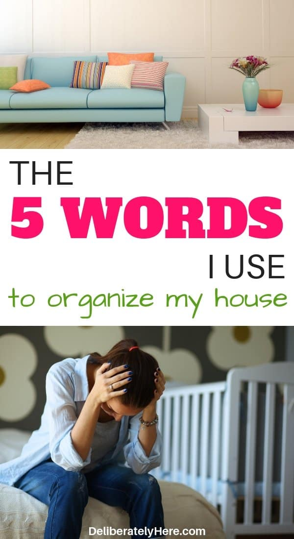 The 5 words I use to organize my house. How to organize your home when it's a mess. How to keep a clean and organized home. The easiest way to organize your house fast. Declutter and organize your home fast with these tips. Free home organization course to help you clean and organize your home. How to clean your house when you're exhausted. How to organize when you don't know where to start.