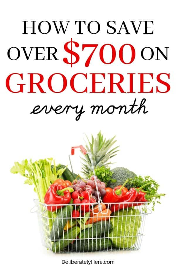 How to save money on groceries every month. How I save $700 on groceries a month. How to save money on groceries with meal planning and frugal living. How to save money on groceries without coupons. The best way to save money on groceries - easy tips to save money on groceries every month. (How we cut our grocery bill in half!)