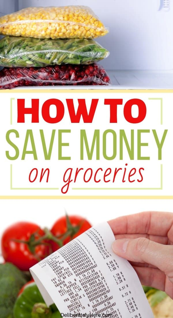 How to save money on groceries each week. How to feed a family on a budget. How to stick to a grocery budget when money is tight. Frugal living tips to save money on groceries. Save money on groceries with meal planning. How to save money on groceries without coupons. Tips to save money on groceries. What I do to save $700 a month on groceries without using coupons!