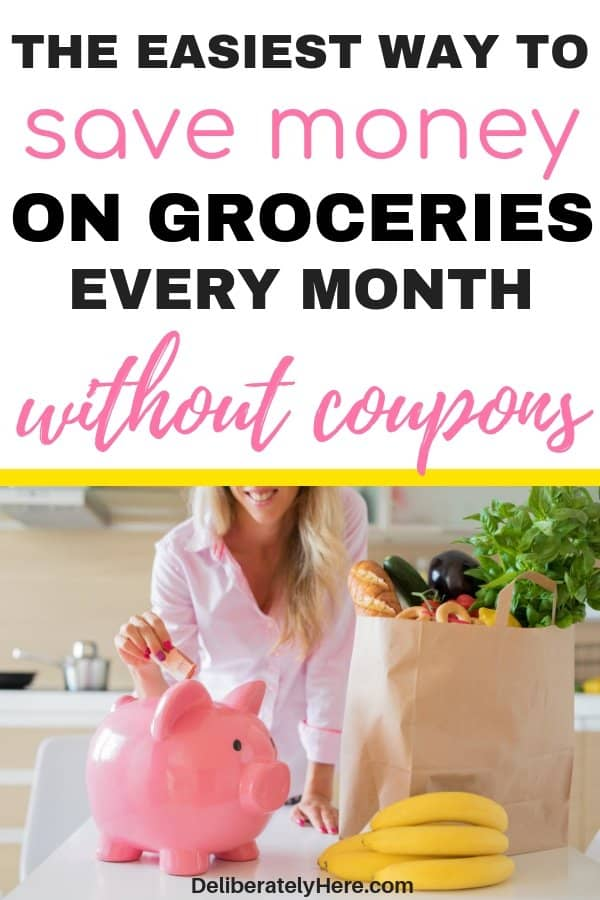 The easiest way to save money on groceries every month. How to save money on groceries every month. The one trick we used to lower our grocery bill by $700 a month. How to save money on groceries without coupons. Save money on groceries with frugal living. How to eat healthy on a budget. How to feed a family on a budget. How to create a grocery budget. How to save money on food every month. Ways to cut grocery costs every month. Use meal planning to save money on groceries.