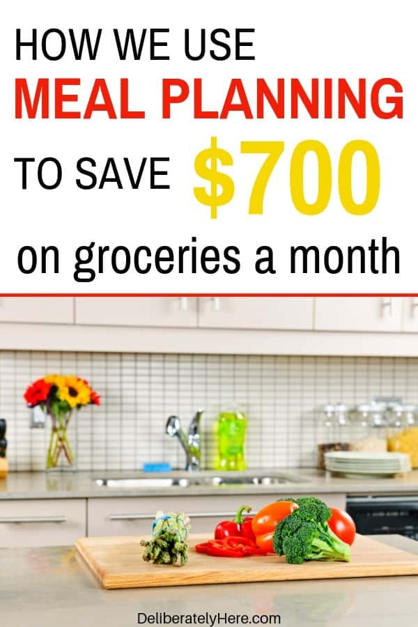 How to use meal planning to save money on groceries. How we cut $700 off our monthly grocery bill with meal planning. How to lower your grocery bill. How to save money on groceries. How to meal plan on a budget. How to live on a budget. How to grocery shop on a budget. Meal planning for beginners. How to meal plan to save money.