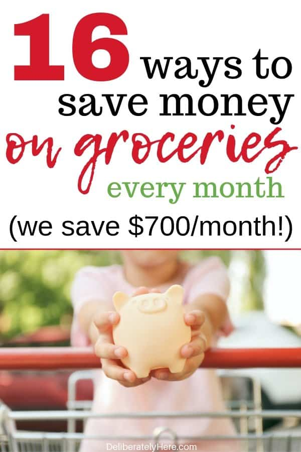16 easy ways to save money on groceries every month. How to save money on groceries. Money saving hacks to lower your monthly grocery bill. What we do to lower our grocery bill every month. How was cut $700 a month off of our grocery bill. Use these money saving hacks to save money on your grocery bill. Frugal ways to save money on groceries. How to live frugally. How to use meal planning to save money on groceries.