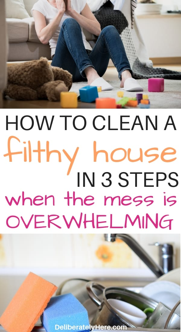How to clean a disgusting house when the mess is overwhelming. How to clean a messy house fast. How to clean a messy house in one day. Easy ways to clean a messy house. Clean and organize a messy house fast. Tips to clean a messy house in one day. Homemaking tips to create a clean organized home when you're overwhelmed and paralyzed by the mess.