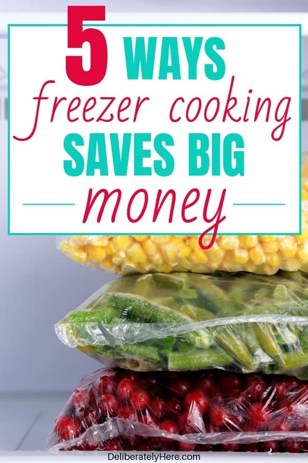 5 ways freezer cooking saves money on groceries every month. Freezer cooking for beginners. How to freezer cook tips. How to make freezer meals. Freezer meal grocery lists. How to use freezer cooking to save money. The best freezer cooking for beginners method. Freezer meal ideas to stock your freezer for cheap. How I made 20 freezer meals in one evening for less than $100! Freezer cooking on a budget.