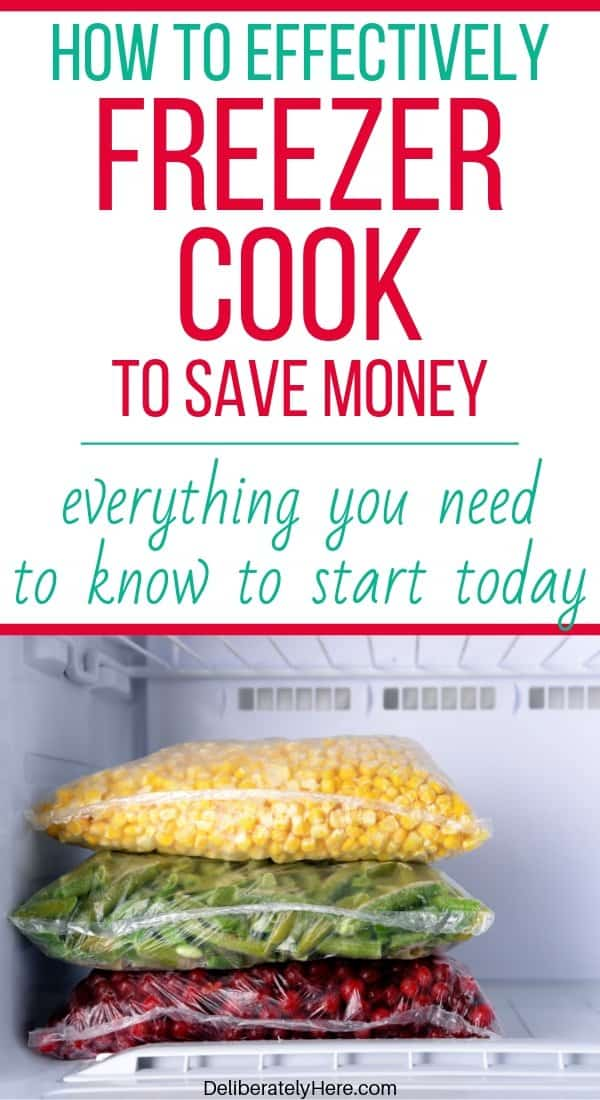 How to freezer cook to save money on groceries every month. 5 ways freezer cooking saves money on groceries every month. Freezer cooking for beginners. How to freezer cook tips. How to make freezer meals. Freezer meal grocery lists. How to use freezer cooking to save money. The best freezer cooking for beginners method. Freezer meal ideas to stock your freezer for cheap. How I made 20 freezer meals in one evening for less than $100! Freezer cooking on a budget.