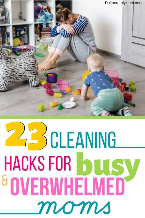 23 cleaning hacks for busy and overwhelmed moms. How to clean your house when you're overwhelmed by the mess. 23 easy cleaning tips for busy moms. Cleaning tips for the home when you don't have time to clean. Cleaning tips for lazy people - how to create a clean and organized home. Household cleaning tips and tricks. The best cleaning hacks for busy people. How to clean your house when you work full time.