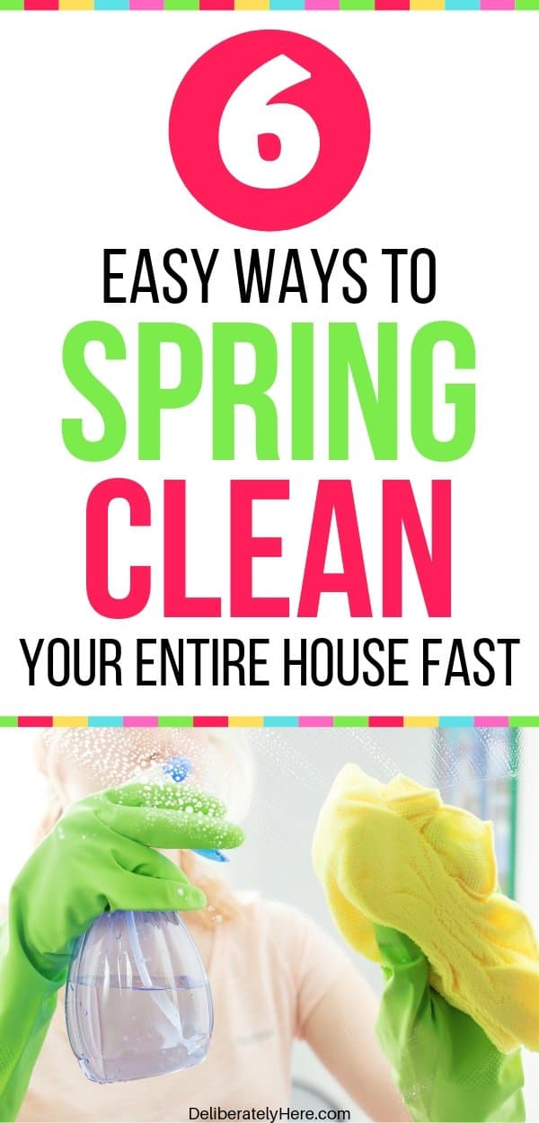 How to spring clean your house fast. How to spring clean your home in one day. Free printable spring cleaning checklist. How to start spring cleaning when your house is a mess. How to clean your house when you're overwhelmed by the mess. House cleaning checklist for busy moms. Easy tips to spring clean your house today.