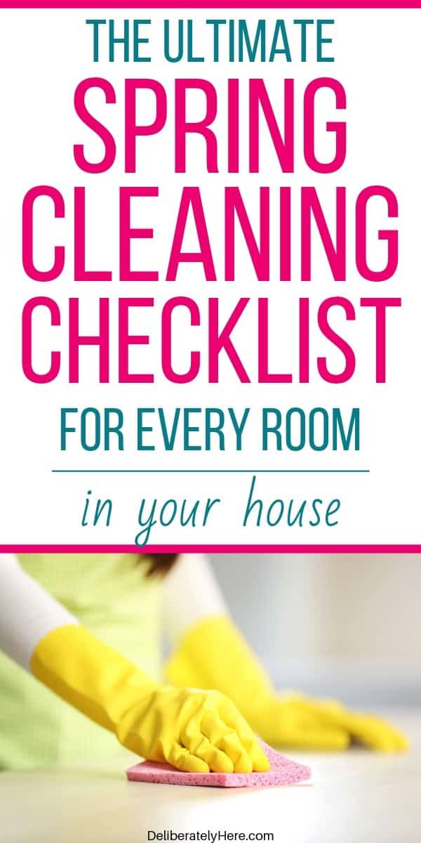 Spring cleaning checklist room by room. Easy spring cleaning schedule to help you get your house cleaned when it's a mess. Easy spring cleaning checklist printable by room to declutter and organize your home. Free printable spring deep cleaning checklist for busy moms.