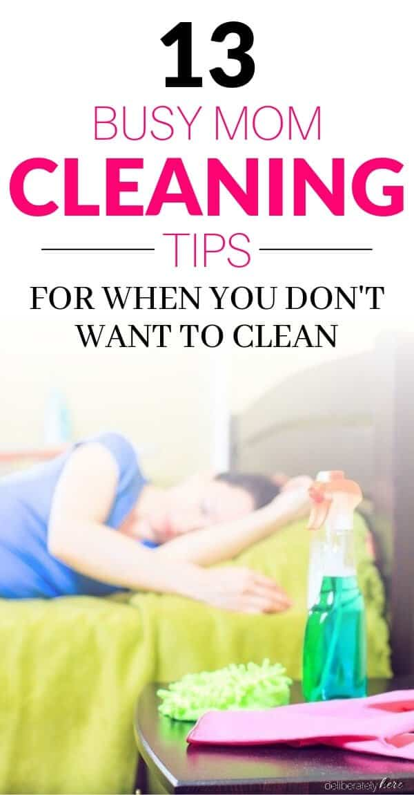 busy mom cleaning tips . exhausted mom laying on bed with cleaning supplies doesn't want to clean anymore needs cleaning tips