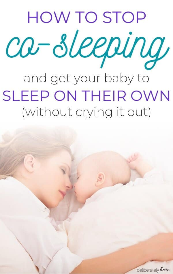 how to get your baby to sleep on their own and stop co-sleeping, mother sleeping in bed with baby